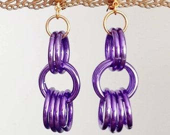 90s Vintage Iridescent Purple Dangly Hoops Earrings