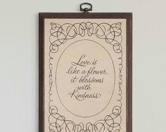Vintage 1974 West Coast Wood Specialties Love & Kindness Plaque