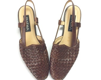 73cb0e12858ac8 IPANEMA Woven Brown Leather Vintage Slingback Sandals