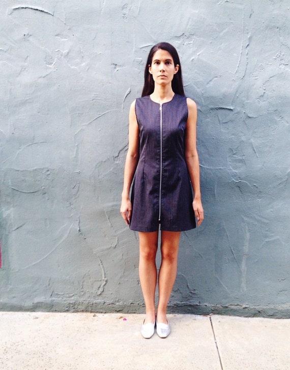 Mod Mini Plaid Zipper Italian Vintage Dress