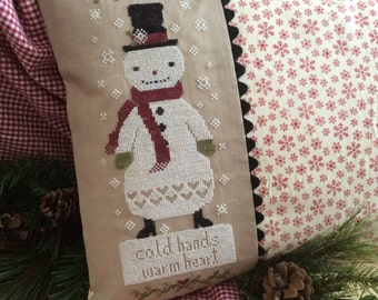 Snowman Cross Stitch Pattern Country Primitive Snow Hearts Winter
