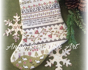 Cross Stitch Pattern Band Sampler Stocking Annie Beez Folk Art PDF Christmas Stocking Band Sampler Blackwork sheep Floral