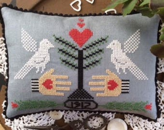 Cross stitch chart crossstitch anniebeezfolkart Heart in Hand Emblem Counted Cross stitch pattern PDF e pattern digital download