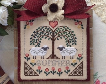 Cross Stitch Chart Sheltering Tree Summer by Annie Beez Folk Art sheep tree flowers hearts summer trellis weeping willow