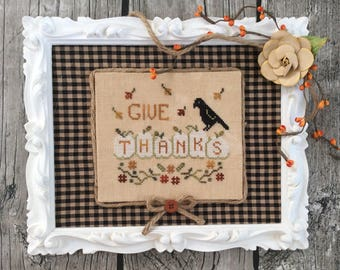 Cross Stitch Pattern Thankful Pumpkins Annie Beez PDF White Pumpkin Ghost Pumpkin Crow Raven Blackbird Thanksgiving Harvest Garden Bird