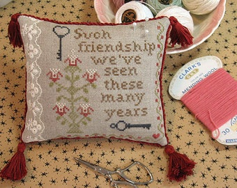 Cross Stitch Chart Such Friendship  Pillow cushion pattern x stitch primitive decor vintage decor vintage embroidery decor FAAP