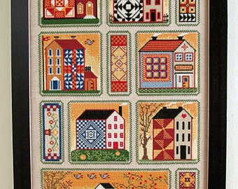 Cross stitch pattern SALE! houses quilts Quilty Neighborhood ENTIRE PatternHard Copy Mailed USPS