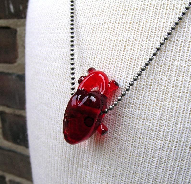 Custom Red Glass Heart Anatomical Heart Glass Bead Flameworked Wearable Art Handmade by Amy Bond