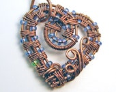 Intricate Raw Copper with Blue & Green Glass Beads Wire Wrapped Heart Pendant,  Romantic Gift, Handcrafted, Pure Copper, Necklace