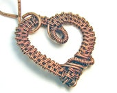 Intricate Raw Copper Wire Wrapped Heart Pendant,  Romantic Gift, Handcrafted Jewelry, Pure Copper, Necklace