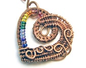 Intricate Raw Copper & Rainbow Glass Beads Wire Wrapped Heart Pendant,  Romantic Gift, Handcrafted, Pure Copper, Pride, LGBTQ, Necklace