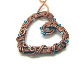 Intricate Raw Copper & Blue Glass Beads Wire Wrapped Heart Pendant,  Romantic Gift, Handcrafted Jewelry, Pure Copper, Necklace