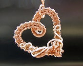 Mixed Raw Copper and Coated Silver Toned Copper Wire Wrapped Heart Pendant,  Romantic Gift, Handcrafted, Necklace