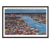 NYC Poster: Retro East River Unframed   Brooklyn, Manhattan & Williamsburg Bridges at Night New York City 1930s Reproduction Art Travel
