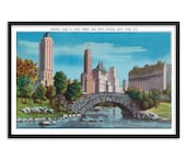 NYC Poster: Retro Central Park Unframed   New York City,  59th Street & Fifth Avenue   1930s Reproduction Wall Art Travel Gift