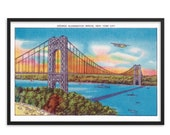 NYC Poster: Retro George Washington Bridge Unframed   Hudson River New York City 1930s Reproduction Art Travel