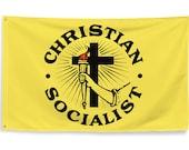 Christian Socialist Flag, 3x5 Foot Religious Leftist, Anti-Capitalist, Socialism Pro-Labor, Pro-Worker