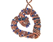 Intricate Raw Copper & Deep Blue Glass Beads Wire Wrapped Heart Pendant, Romantic Gift, Handcrafted Jewelry, Pure Copper, Necklace
