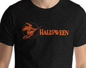 Halloween T-Shirt, Retro Witch   Scary Spooky Unisex Halloween Shirt Witch Flying on Broom