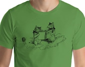 Unisex | Merry Christmas Cats Shirt | Retro Caroling Christmas Kittens Holiday T-Shirt