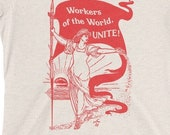 Leftist T-Shirt: Workers of the World, Unite! | Ladies Retro Socialism, Walter Crane Style, Retro Socialist Anti-Capitalist Pro-Labor Gift