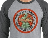 Socialist Shirt, Socialist Party Baseball Raglan Shirt | Workers of the World Unite | Retro Edwardian Socialism, Leftist, Socialist Gift