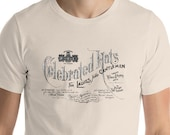 Retro Advertising T-Shirt: Celebrated Hats | Victorian Millinery Advertising Unisex Shirt