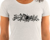 Ladies | Victorian Moth with Roses T-Shirt | Flowers, Butterfly, Floral