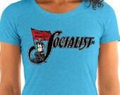 Socialist T-Shirt: Socialist Flag | Retro Leftist Shirt, Ladies, Pro-Labor, Anti-Capitalist, Equal Opportunity, Socialist Gift, Socialism