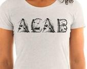 Leftist T-Shirt: Woodland ACAB | Ladies All Cops are Bastards Antique Rustic Victorian Penwork with Birds, Anti-Capitalist