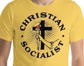 Christian Socialist T-Shirt, Religious Leftist Unisex Shirt, Anti-Capitalist, Socialism Socialist Gift
