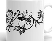 Mug | Victorian Bees & Flowers | Vintage 1870s Illustration | Bee, Insects, Bugs, Floral