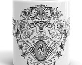 Mug | Ornate Victorian Winged Lions with Women Design | Vintage 1870s Illustration | Lamassu, Mythological Creatures, Cryptozoology