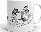 Christmas Mug | Merry Christmas Cats Cup | Retro Caroling Christmas Kittens Holiday Cat, Ceramic Mug