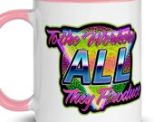 Leftist Mug: To the Workers All They Produce   Retro 1980s Style, Socialist Communist Anti-Capitalist 80s Neon Zoomer Gift