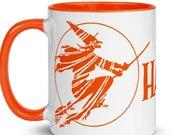 Halloween Mug, Retro Witch   Scary Spooky Halloween Orange Inside Ceramic Mug Witch Flying on Broom