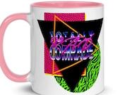 Leftist Mug: Totally Rad Comrade   Retro 1980s Style, Socialist Communist Anti-Capitalist 80s Bright Colors Neon Gift