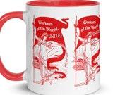Leftist Mug: Workers of the World, Unite! Retro Walter Crane Style Socialism   Edwardian Socialist, Pro-Labor Ceramic Mug