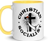 Christian Socialist Mug, Religious Leftist Ceramic Mug, Anti-Capitalist, Socialism Socialist Gift