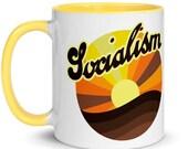Socialist Mug: Retro 1970s Style Socialism Sunrise   Leftist Anti-Capitalist Pro-Labor Ceramic Mug