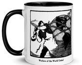 Workers Mug: Worker Smashing the Chains of Oppression   Workers of the World Unite! Retro Ceramic Mug Socialist Communist Leftist Pro-Labor