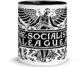 Socialist Mug: The Socialist League, Black Interior | Agitate, Educate, Organize! Socialist Gift Victorian Socialism Leftist Anti-Capitalist
