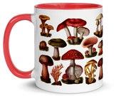 Mushroom Mug: Poisonous Fungi & Mushrooms, Red Interior | Edwardian Botanical Illustration | Fungus, Mushroom, Retro Mushroom Gift
