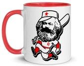 Marxist Baseball Mug, Red Interior   Retro Socialist Sports Gift, Karl Marx, Leftist, Labor, Anti-Capitalist, Communist, Communism