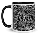 Socialist Mug: Art Nouveau Socialism, Black Interior | Socialist Gift Socialism Leftist Anti-Capitalist Ceramic Mug