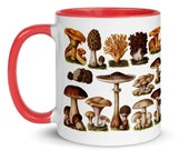 Mushroom Mug: Edible Fungi & Mushrooms, Red Interior | Edwardian Botanical Illustration | Fungus, Mushroom, Retro Mushroom Gift