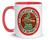 Color Inside Mug | Socialist Party, Red Inside & Handle | Workers of the World Unite | Retro Edwardian Socialism
