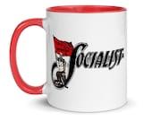 Retro Socialist Mug: Socialist Flag, Red Interior, Leftist Pro-Labor, Anti-Capitalist, Equal Opportunity, Ceramic, Socialist Gift, Socialism