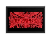 "Socialist Poster: The Socialist League, Red on Black | Agitate, Educate, Organize! Victorian Socialism 12x18"", Leftist, Anti-Capitalist Gift"