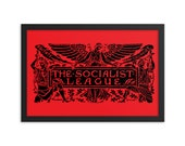 "Socialist Poster: The Socialist League, Black on Red | Agitate, Educate, Organize! Victorian Socialism 12x18"", Leftist, Anti-Capitalist Gift"